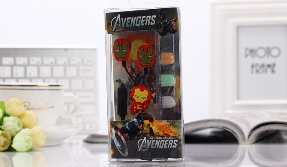 Iron Man Avengers Earphones Set Marvel Superhero 3.5MM Epacket