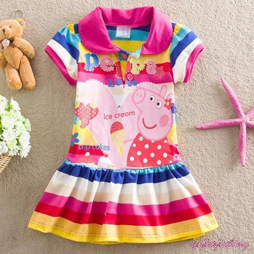 Peppa Pig Summer Dress Kids Girls 24M 2T 3T 4T 5T