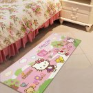 Hello Kitty Pink Accent Carpet Rugs 17x47in for Bedroom Living Room Green