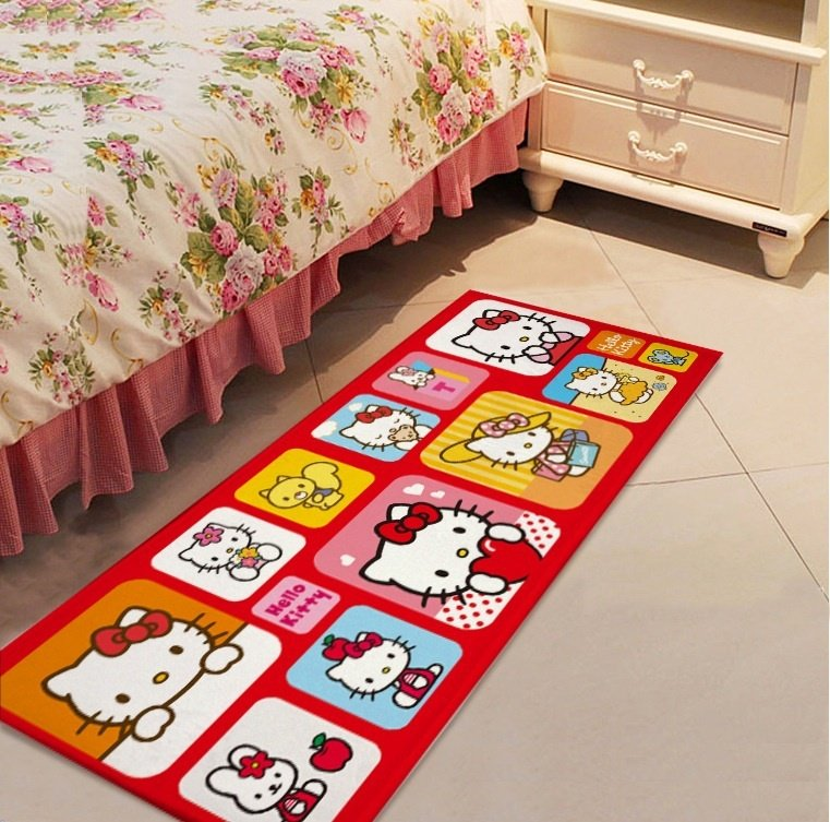 Hello Kitty Character Squares Accent Carpet Rugs 17x47in for Bedroom Living Room Green