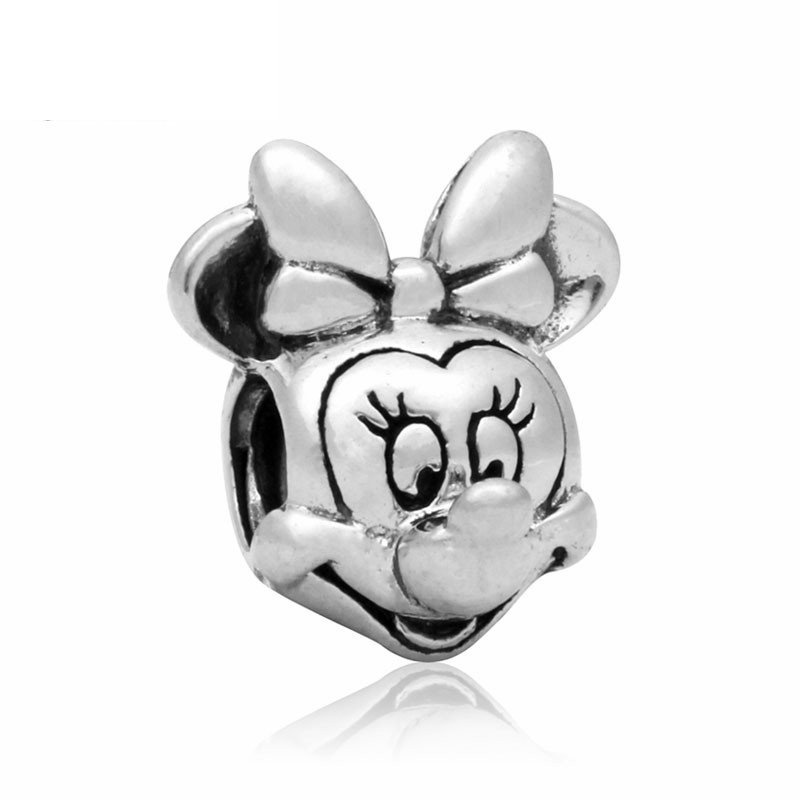 Minnie Mouse Head Silver Pendant Charm for Pandora Bracelet $1 Shipping