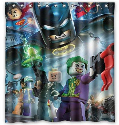 "Superhero Lego Figures Shower Curtain Custom Hollywood Designs 66""x72"""