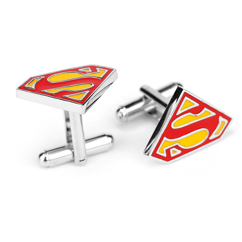Superman Triangle S Enamel Cufflinks Marvel DC Superhero Pair / Set