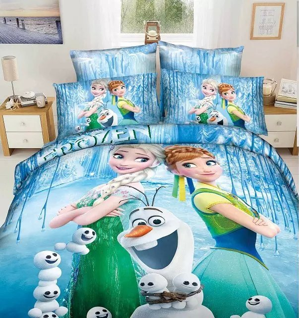 Frozen Elsa Anna Olaf Design Bedding Cover Set 1 - King Size