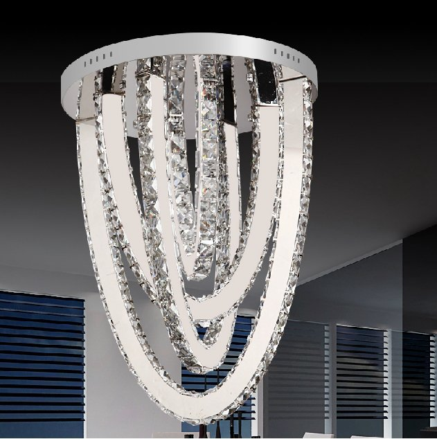 U Shape Diamond Crystal Ceiling Chandelier Lamp Home Decor