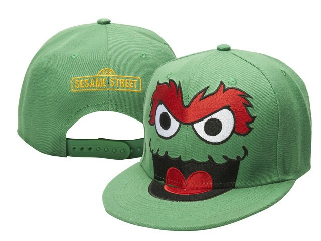 Oscar The Grouch Baseball Cap hat Snapback Sesame Street Adult Green -NEW