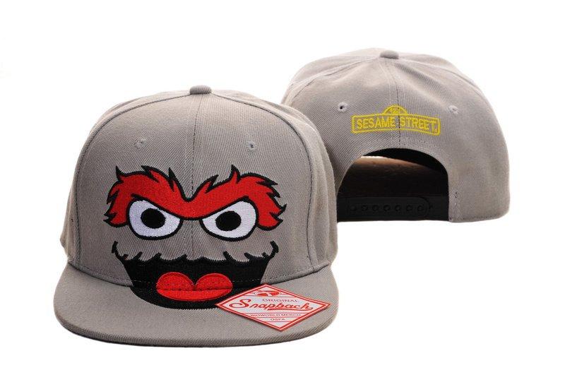 Oscar The Grouch Baseball Cap hat Snapback Sesame Street Adult Gray-NEW