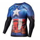 Captain America Armoured Compressed Superhero Long Sleeve Shirt Marvel DC M TO XXL NEW