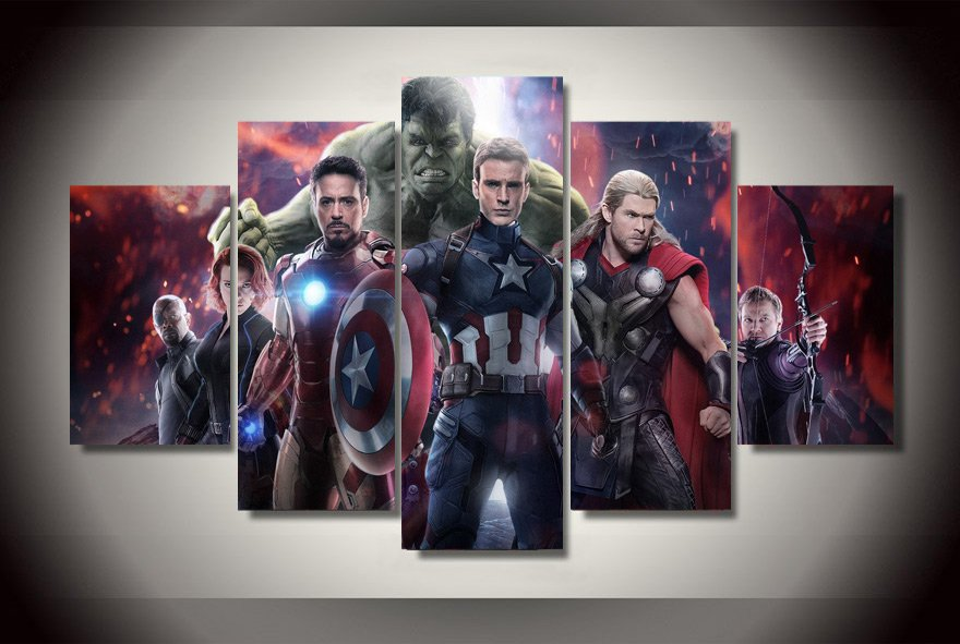 Avengers Group Movie 2 Framed Oil Painting Wall Decor DC MARVEL Comics Superhero