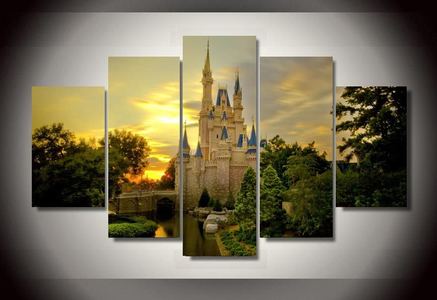 Cinderella's Castle Magical 5pc Wall Decor Framed Oil Painting