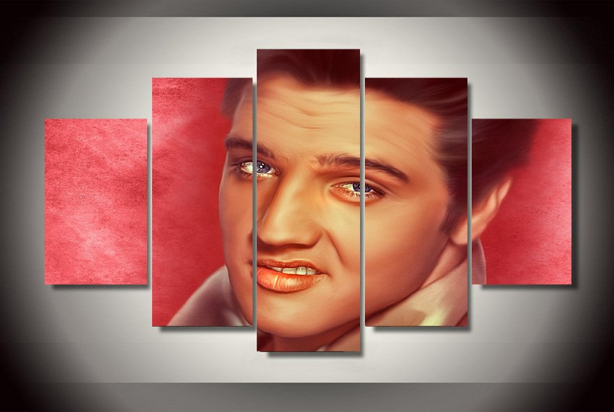 Elvis Presley 5pc Wall Decor Framed Oil Painting Hollywood Icon