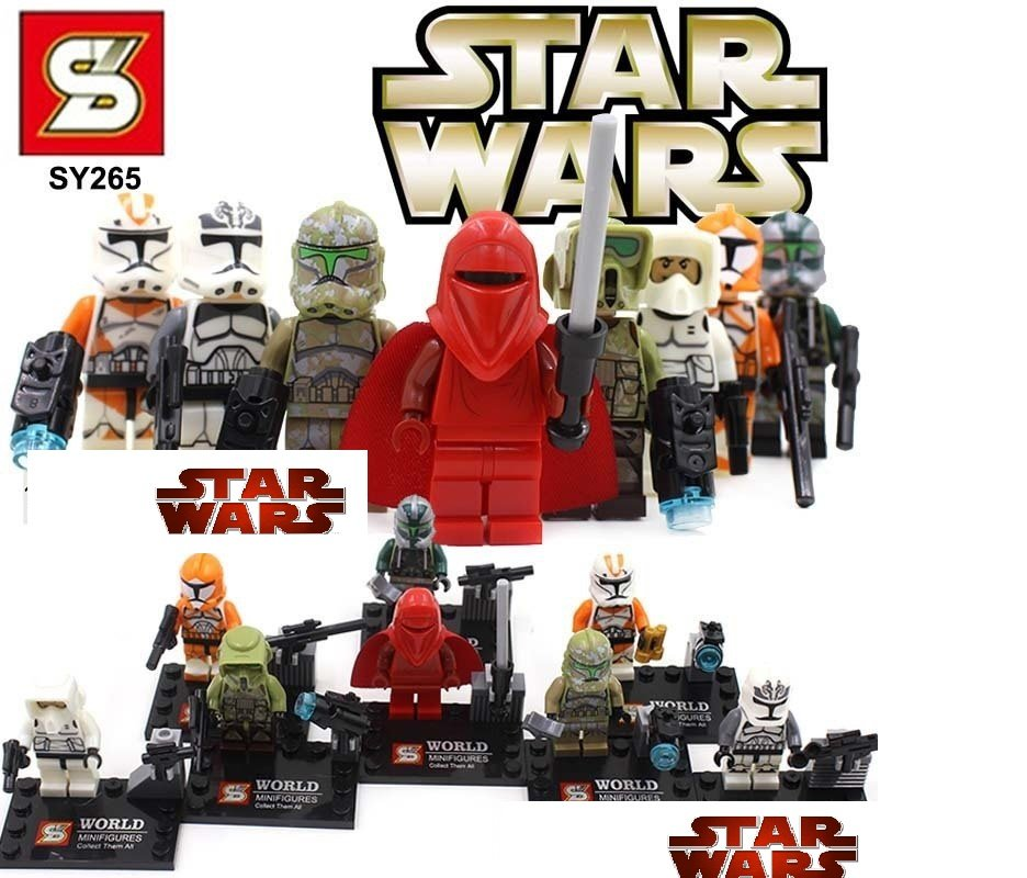 Star Wars 8pc Storm Troopers Red Clone Mini Figures Building Blocks Minifigures Block Build Set 2 STANDARD PLUS SHIP