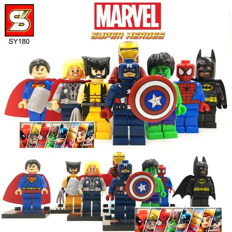 Marvel Superheros 8pc Mini Figures Building Blocks Minifigures Block Build Set 1 STANDARD PLUS SHIPPING