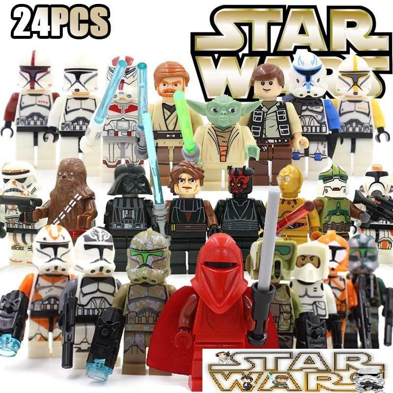 Star Wars 24pc Mini Figures Block Build Set Yoda Red Clone Chubacca STANDARD PLUS SHIPPING