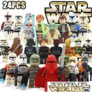 Star Wars 24pc Mini Figures Block Build Set Yoda Red Clone Chubacca STANDARD PLUS SHIPPING