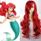 Long Red Ariel Little Mermaid Wig With Waves Adult Costume Accessory