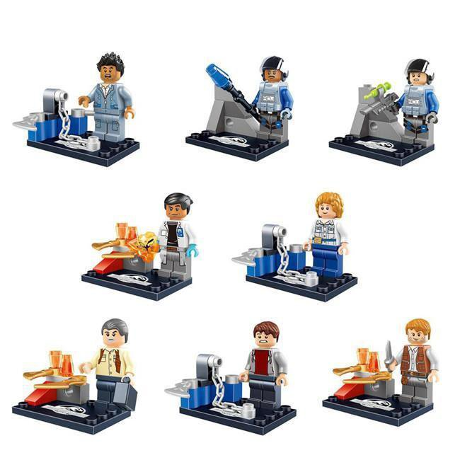 Jurassic Park 8pc Mini Figures Building Blocks Minifigures Block Build Set 2