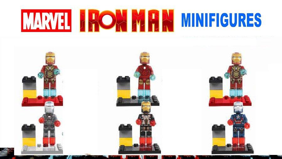 Iron Man Marvel 6pc Mini Figures Building Blocks Minifigures Block Build Set