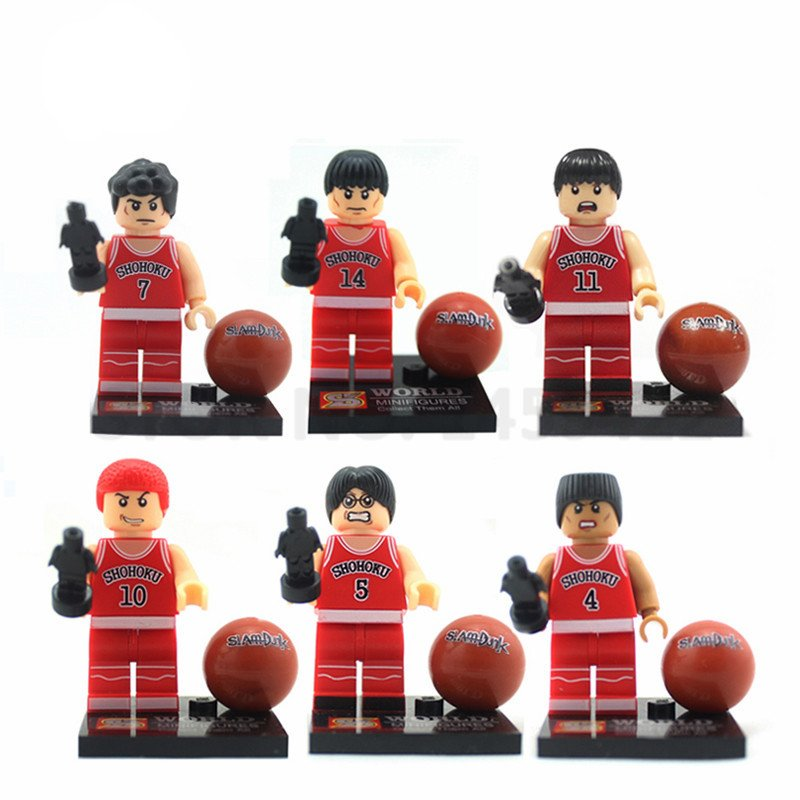 Slam Dunk Players 6pcs Mini Figures Building Blocks Minifigures Block Build Set Basketball
