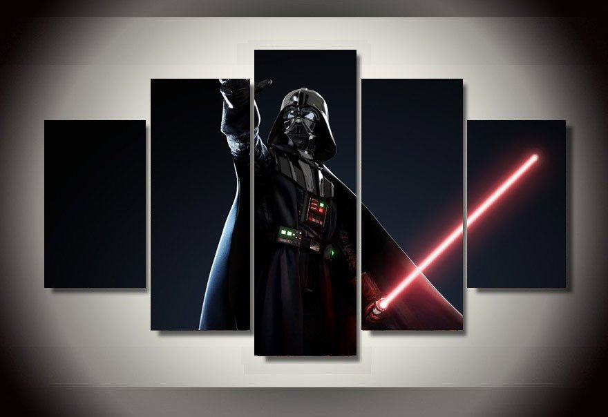 Darth Vader Light Saber Star Wars 5pc Wall Decor Framed