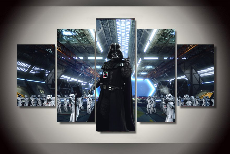 Darth Vader Troopers Star Wars 5pc Wall Decor Framed Oil Painting