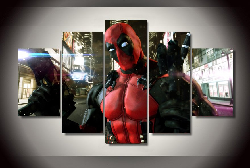 Deadpool Gaming Character 5pc Wall Decor Framed  Oil Painting Superhero