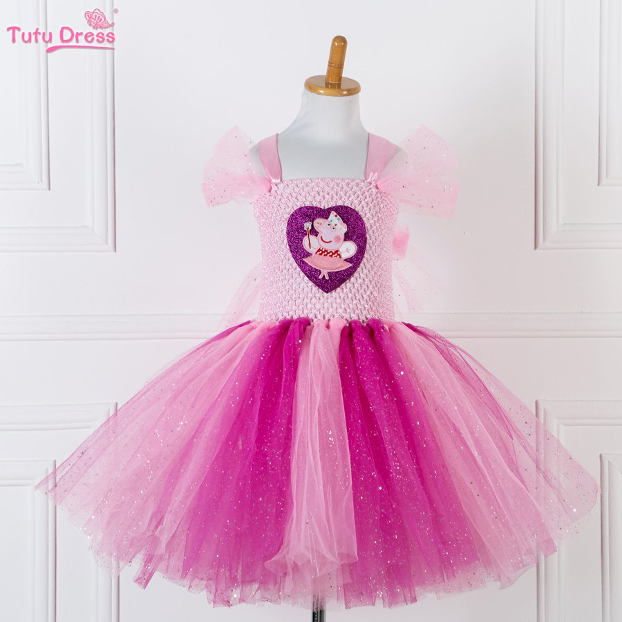 Peppa Pig Princess Pink Tutu Dress Kids Girls Ball Gown 5,6,7,8,9,10,11,12