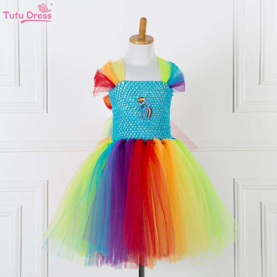 Rainbow My Little Pony Princess Tutu Dress Kids Girls Ball Gown 2T,3T,4T, 5,6,7,8,9,10,11,12