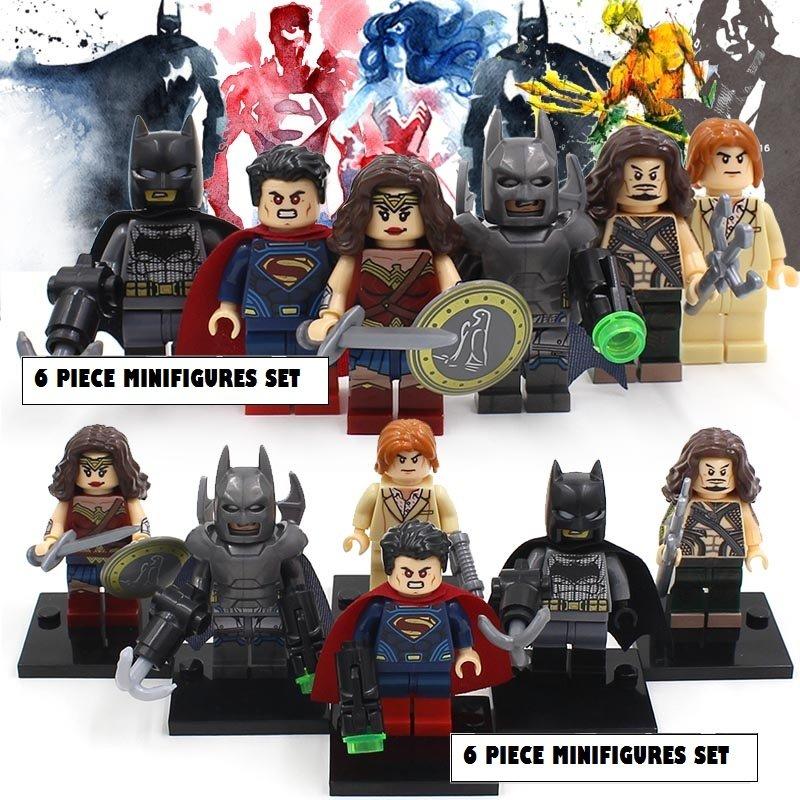 Batman vs Superman Dawn of Justice DC Marvel 6pc Mini Figures Building Blocks Minifigures Block Build Set