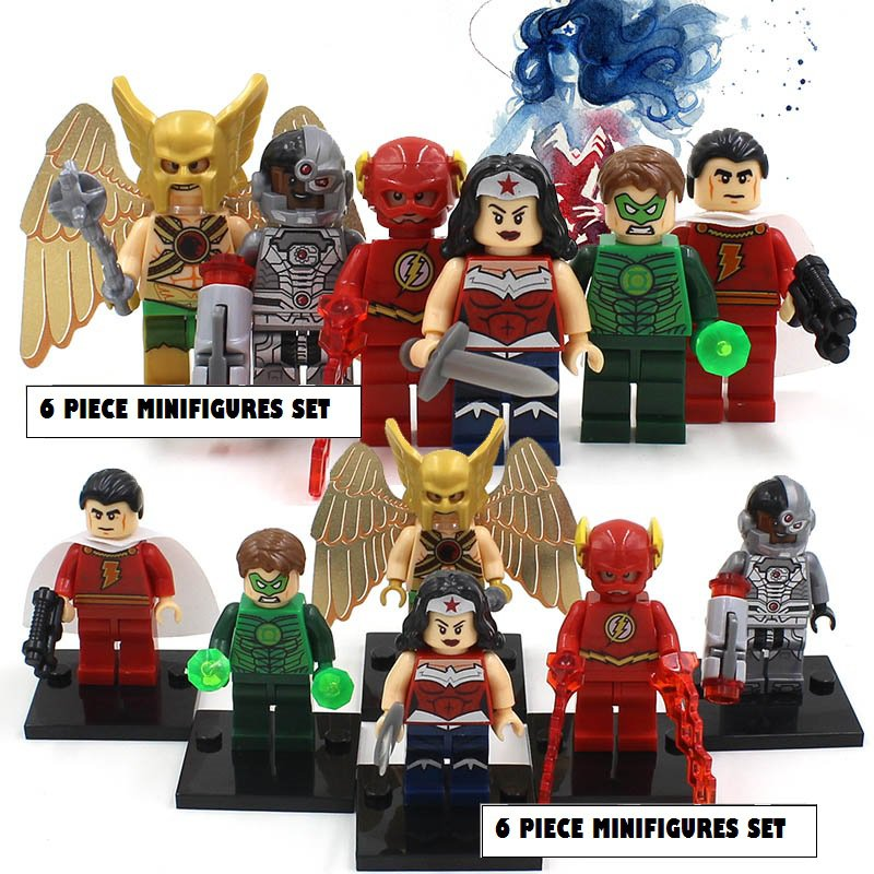 Wonderman DC Marvel 6pc Mini Figures Building Blocks Minifigures Block Build Set