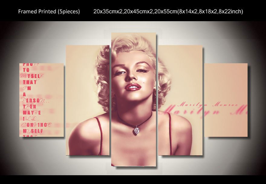 Marilyn Monroe Framed 5pc Oil Painting Wall Decor 2 Hollywood Legend