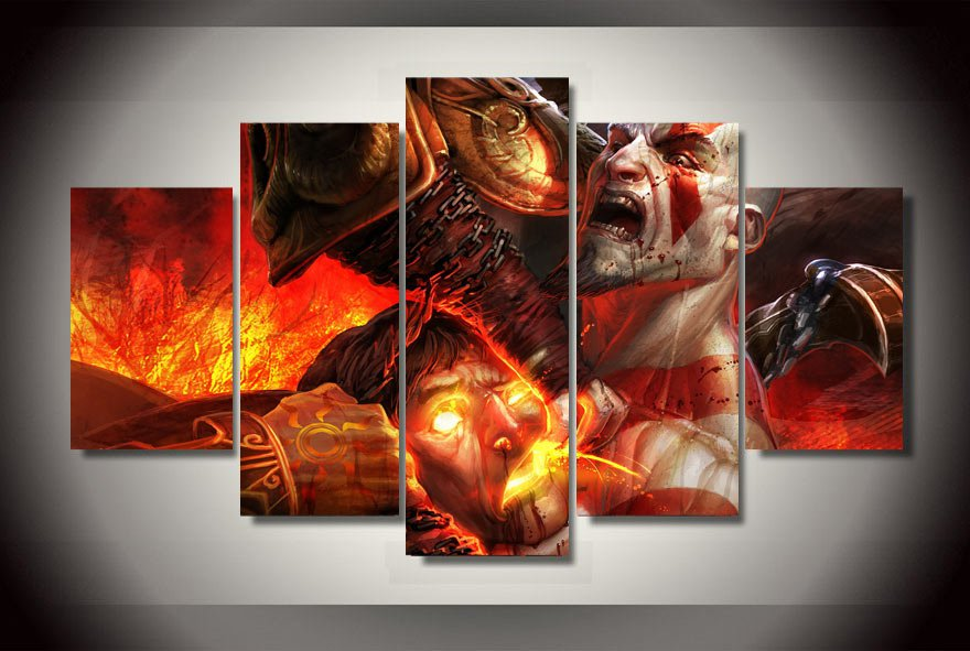 Game god of war  Gaming 5pc Wall Decor Framed Oil Painting