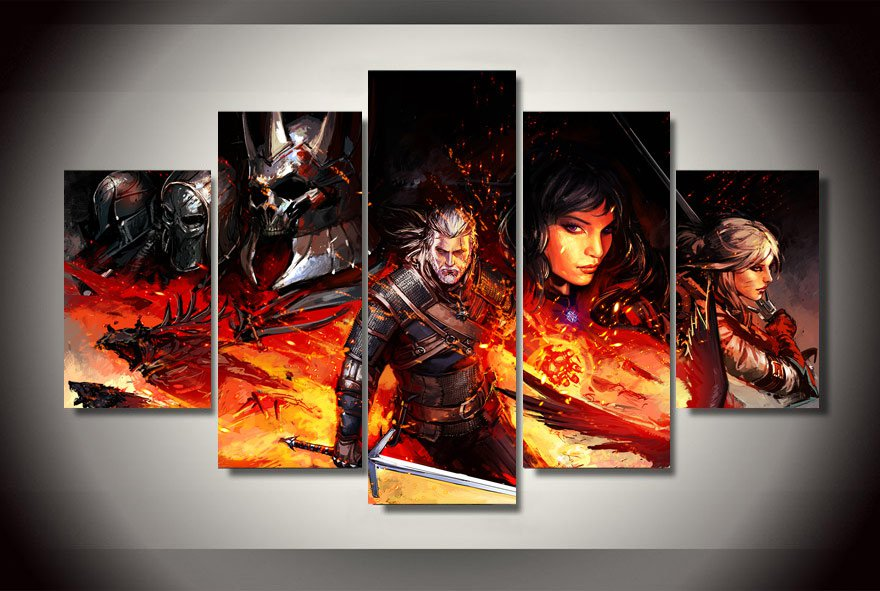 The Witcher 3 Gaming 5pc Wall Decor Framed Oil Painting