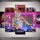 DJ Girl Pink Framed 5pc Oil Painting Wall Decor Music Artist