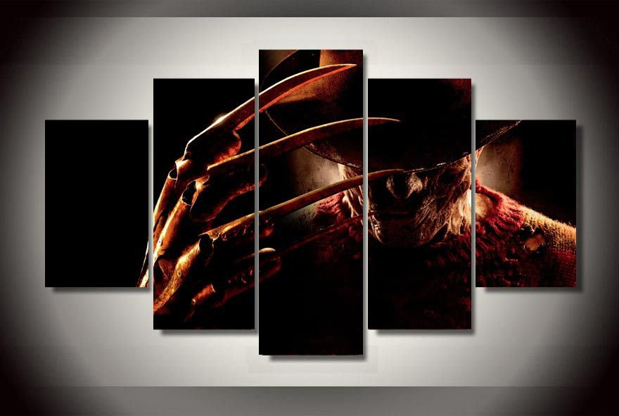 Nightmare on Elm Street Framed 5pc Oil Painting Wall Decor  Freddy Kreuger