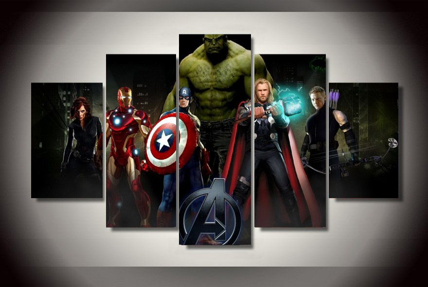 The Avengers Superhero Movie Framed 5pc Oil Painting Wall Decor Hulk Captain America Thor Iron Man