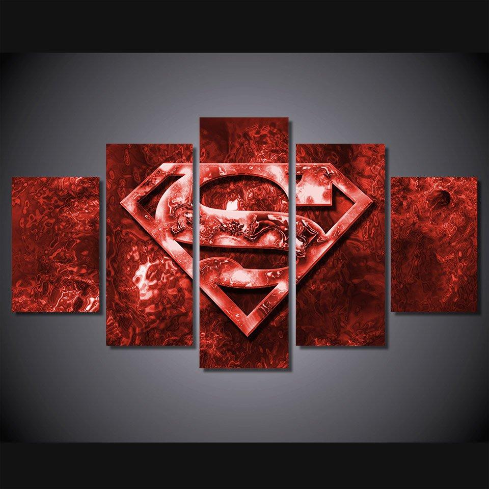 Superman Framed 5pc Oil Painting Wall Decor Comics DC Marvel HD Superhero