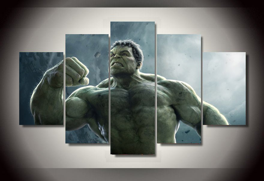 The Hulk Movie Framed 5pc Oil Painting Wall Decor Comics DC Marvel HD
