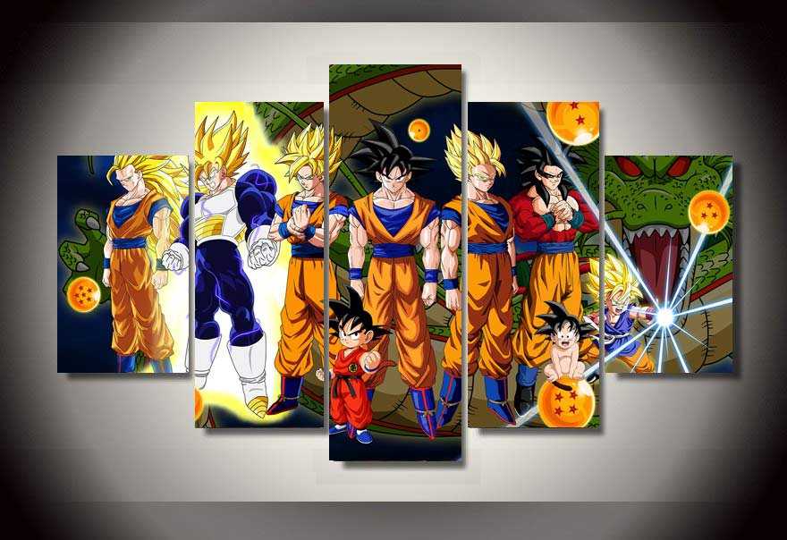 Dragon Ball Z Framed 5pc Oil Painting Wall Decor