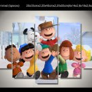 Peanuts Gang Charlie Brown Framed 5pc Oil Painting Wall Decor Cartoon