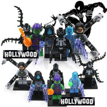 New Spiderman Green Goblin Marvel 8pc Mini Figures Building Blocks Minifigures Block Build Set