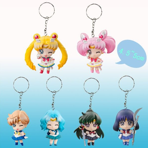 Sailor Moon Mini Figures Keychains 6pc set on SALE