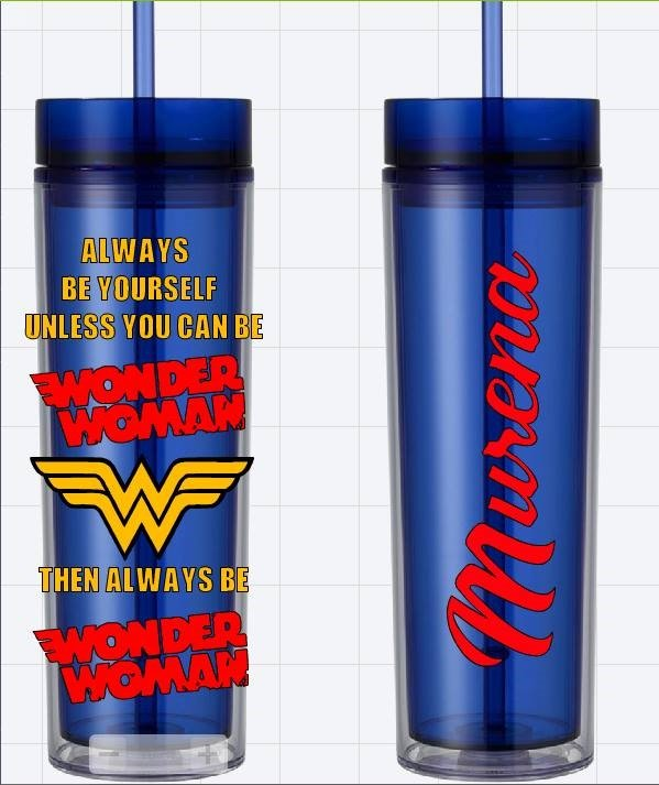 Wonder Woman Blue Custom Name Long Tumbler Sipper Cups