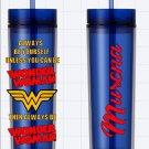 Wonder Woman Blue Custom Name Long Tumbler Sipper Cups