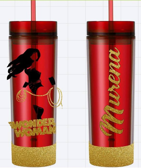 Wonder Woman Red Glitter Custom Name Long Tumbler Sipper Cups
