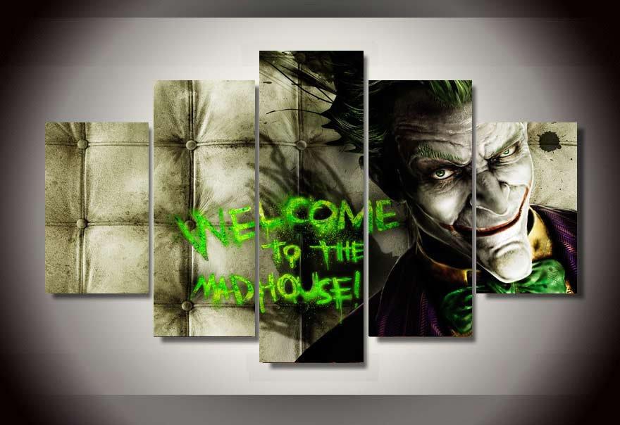 The Joker Batman Superhero DC Comics 5pc Wall Decor Framed Oil Painting Message art HD