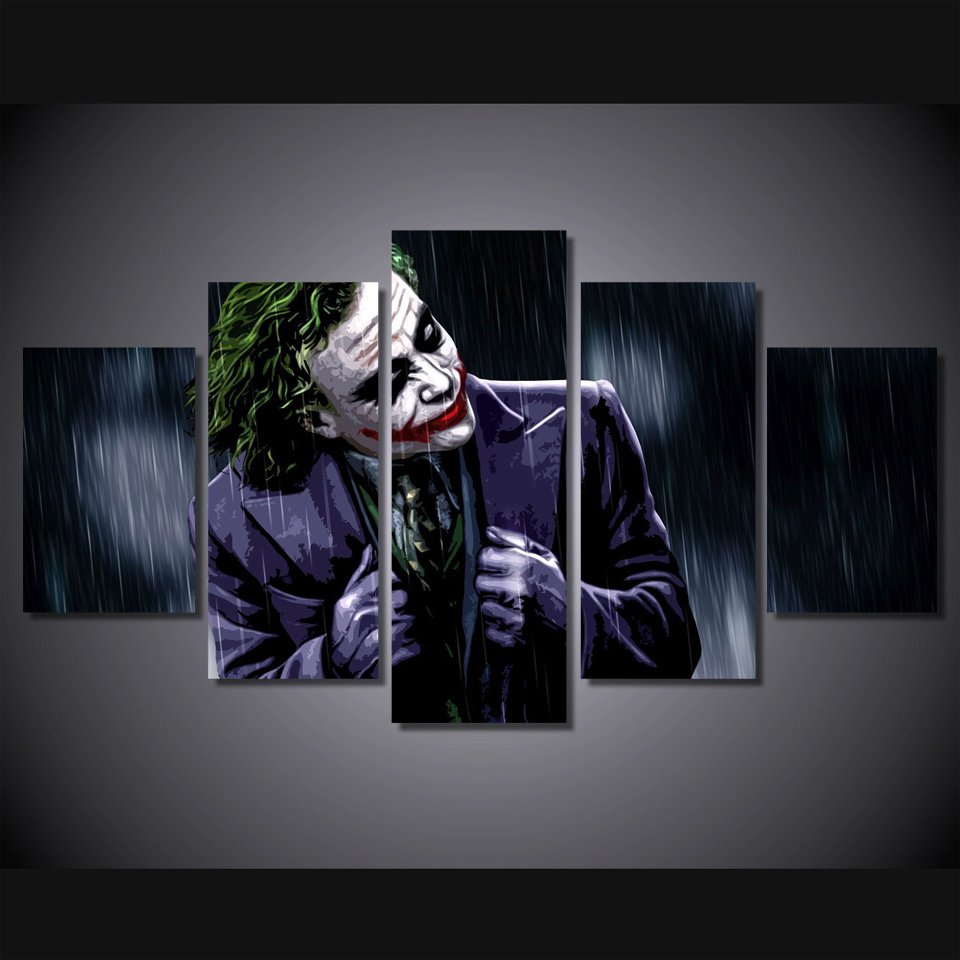 The Joker Batman Movie DC Comics 5pc Wall Decor Framed Oil Painting #14 Superhero Villain