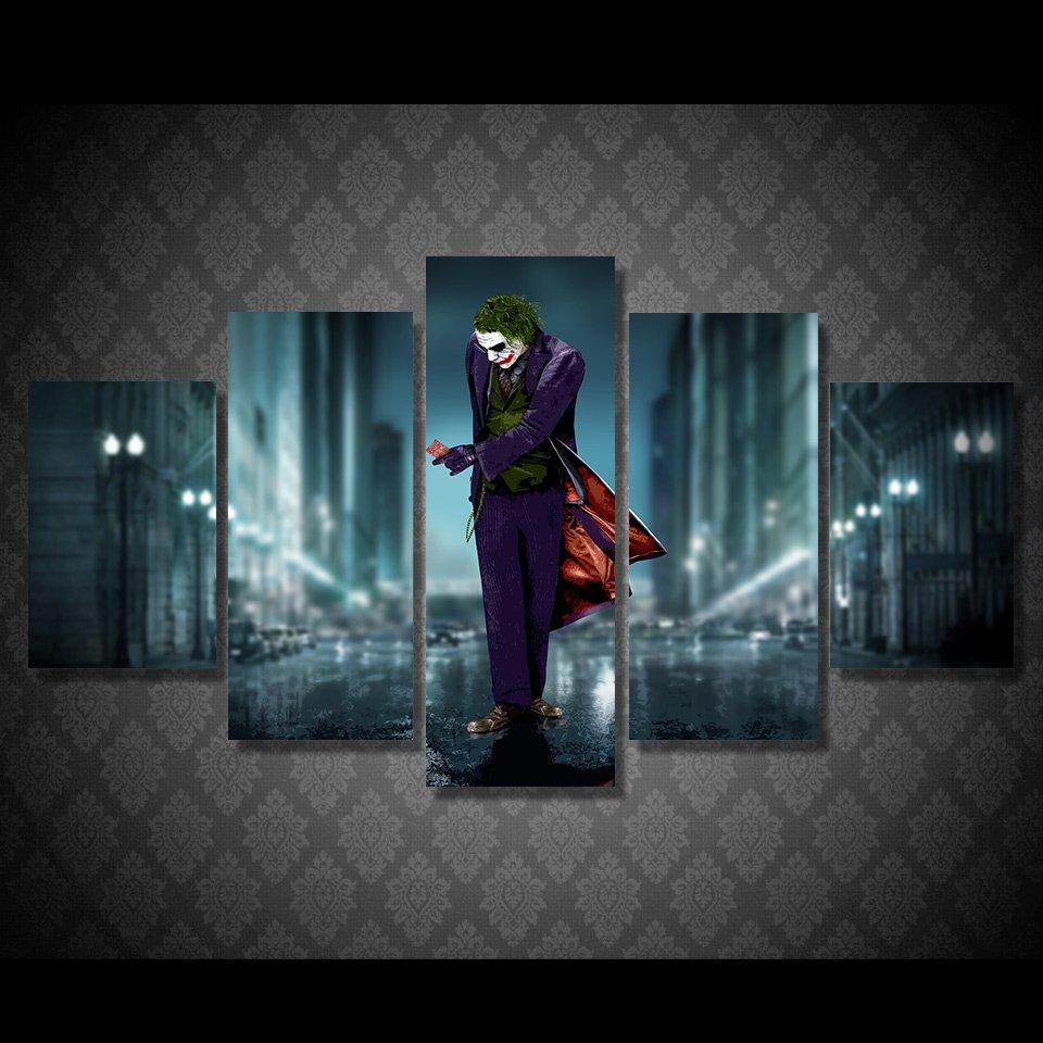 The Joker Batman DC Comics 5pc Wall Decor Framed Oil Painting #15 Superhero Villain