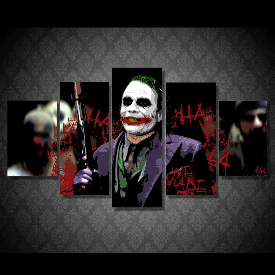 The Joker Batman Movie DC Comics 5pc Wall Decor Framed Oil Painting #16 Superhero Villain