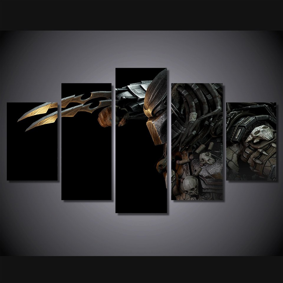 Predator Movie Character 5pc Wall Decor Framed  Oil Painting Horror